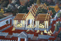 Beautiful Scene Painted on a Temple window Royalty Free Stock Image