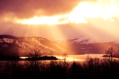 Beautiful scene of the �re valley. Sunbeam over the lake �re Royalty Free Stock Photo