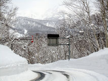 Snow, snowy mountain road Stock Photography