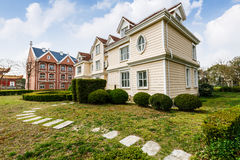 The beautiful scene in the suburbs of apartment building Royalty Free Stock Photo