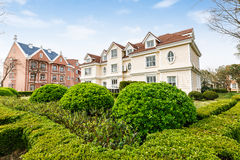The beautiful scene in the suburbs of apartment building Royalty Free Stock Images