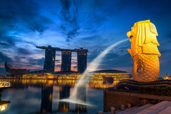 Beautiful scene on sunrise in business downtown of Singapore., Twilight scene. Royalty Free Stock Photography