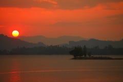 Beautiful scene sunset on lake Stock Photography
