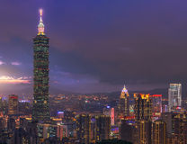 Beautiful scene of Taipei city at sunset. This photo was taken at the top of Elephant Mountain. You can see the Taipei 101 building standing hight in the scene Royalty Free Stock Photos