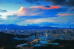 Beautiful Scene of Taipei in Evening Stock Photography