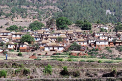 Beautiful scene. Of tipical nepali village with traditional nepali house Stock Photography