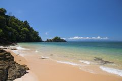 Beautiful scene, tropical sea and beach with blue sky background.  royalty free stock photos