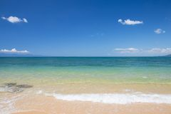 Beautiful scene, tropical sea and beach with blue sky background.  royalty free stock images