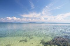 Beautiful scene, tropical sea and beach with blue sky background.  royalty free stock photo