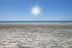 Beautiful scene, tropical sea and beach with blue sky background.  royalty free stock image
