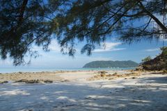 Beautiful scene, tropical sea and beach with blue sky background.  stock photos