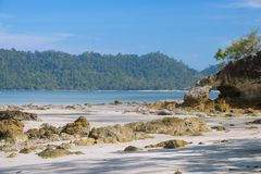 Beautiful scene, tropical sea and beach with blue sky background. In koh phayam at ranong province southeast asia Thailand stock photography