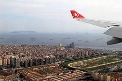 Beautiful scene of Turkish Airline jet wing over Istanbul,Turkey,2016 Royalty Free Stock Image