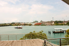Beautiful scene - Water, ship and some of the famous buildings in Singapore Royalty Free Stock Photos
