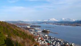 Beautiful scenery of Alesund town stock video