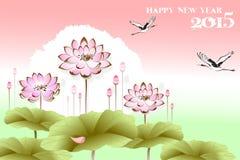 Beautiful scenery background of lutus flower and crane birds - eps10 vector. New year landscape of lyrical feeling Royalty Free Stock Image
