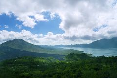 Beautiful scenery of Batur lake and volcano Stock Photography