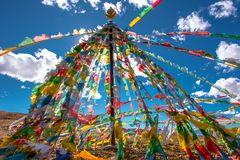 The Beautiful Scenery: The Prayer Flags royalty free stock photos