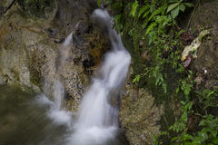 Beautiful scenery of cascaded river flowing through tropical rainforest Stock Photo