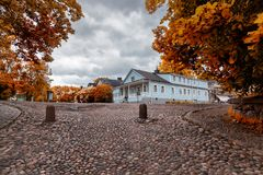 Beautiful scenery, cobbles and wooden houses on the island of Suomenlinna, a journey through the islands of Finland stock photo