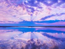 Beautiful scenery with colorful sky, beautiful water reflectionc stock photography