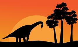 Beautiful scenery dinosaur brachiosaurus of silhouettes Stock Photo