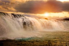 Faxi Waterfal Icelandic scenery royalty free stock photography