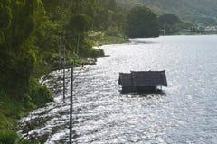 Beautiful scenery of floating house at Lake Batur, Kintamani, Bali. Indonesia Stock Photos