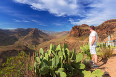 Beautiful scenery of Gran Canaria mountains. Stock Photo