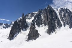 Beautiful scenery of the great mountain peaks in the Mont Blanc Stock Photo