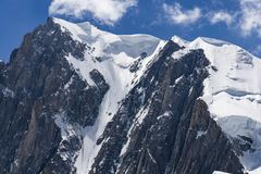 Beautiful scenery of the great mountain peaks in the Mont Blanc Royalty Free Stock Photos