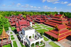Scenic View of Mandalay Palace from Watch Tower. Beautiful Scenery of Historic Mandalay Palace from the Watch Tower in Summer stock photo