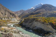 Beautiful scenery of Hunza valley in autumn season, Gilgit Baltistan, Pakistan. Asia stock image