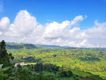 Beautiful Scenery, Kapchorwa Uganda. Standing in Kapchorwa municipality and over looking west division of the municipality. With beautiful undulating landscapes Royalty Free Stock Images