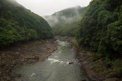 Beautiful scenery of the Katsura river along the tracks of the Sagano Scenic Railway. Kyoto, Japan royalty free stock photography