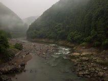 Beautiful scenery of the Katsura river along the tracks of the Sagano Scenic Railway. Kyoto, Japan stock photos