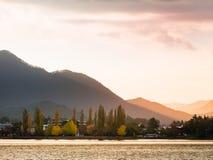 Lake Kawaguchi. Beautiful scenery of lake Kawaguchi, Japan stock photography