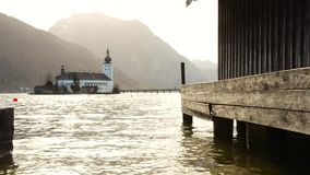Beautiful scenery at lake Traunsee in Gmunden Upper Austria in spring vintage stock footage