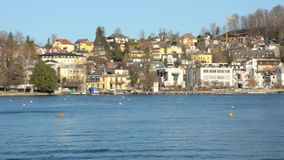 Beautiful scenery at lake Traunsee in Gmunden Upper Austria in spring vintage. Beautiful scenery at lake Traunsee in Gmunden Upper Austria in spring on a warm stock video footage