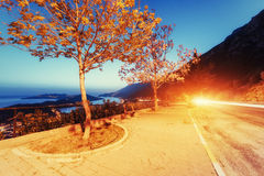 Beautiful scenery lamps and rocks along Royalty Free Stock Images