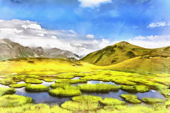 Beautiful scenery landscape with mountain lake at sunny day. Colorful painting Royalty Free Stock Photo