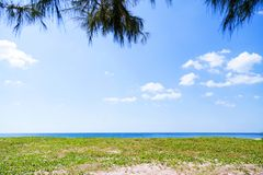 Beautiful scenery landscape of tropical sea and leaves frame in Royalty Free Stock Image