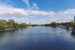 Beautiful scenery in London Hyde Park and Serpentine lake Stock Image