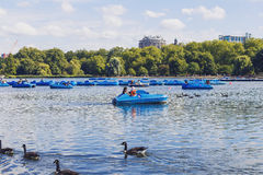 Beautiful scenery in London Hyde Park and Serpentine lake Stock Images
