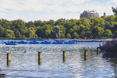 Beautiful scenery in London Hyde Park and Serpentine lake Royalty Free Stock Photography