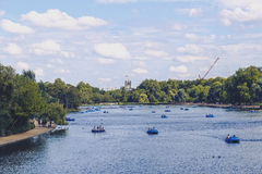 Beautiful scenery in London Hyde Park and Serpentine lake Stock Photo