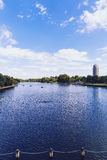 Beautiful scenery in London Hyde Park and Serpentine lake Royalty Free Stock Images