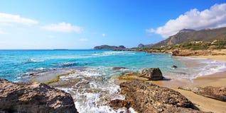 Scenery of Maleme beach on Crete, Greece. The beautiful scenery of Maleme beach on Crete, Greece Royalty Free Stock Photos