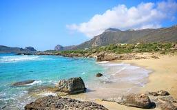 Scenery of Maleme beach on Crete, Greece. The beautiful scenery of Maleme beach on Crete, Greece Stock Image
