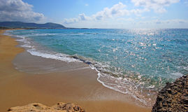 Scenery of Maleme beach on Crete, Greece. The beautiful scenery of Maleme beach on Crete, Greece Royalty Free Stock Photography